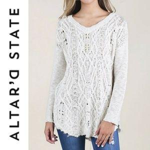 Altar'd State Raw Hem Cozy Knit V Neck Sweater
